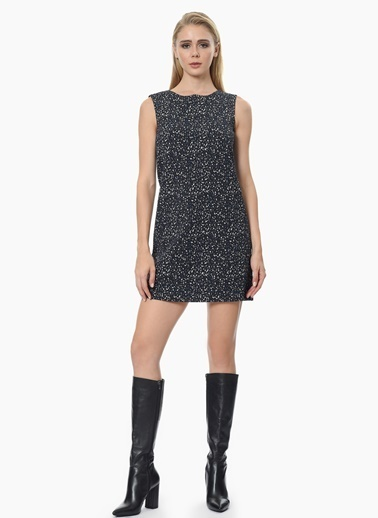 NetWork Kolsuz Mini Elbise Siyah
